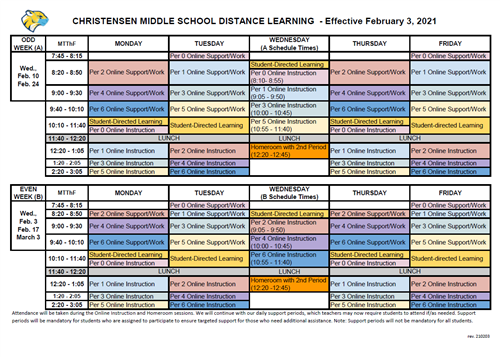 CMS Distance Learning Bell Schedule eff Feb_3_2021