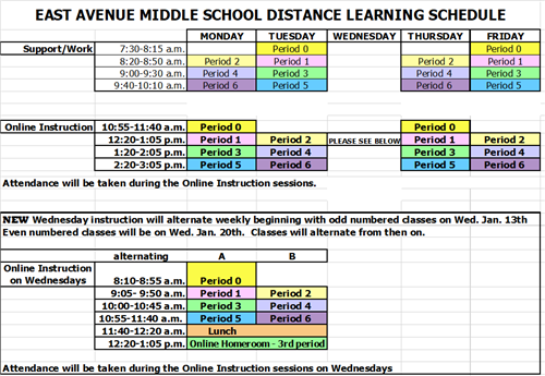 Revised distance learning schedule