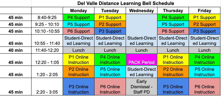 Del Valle Distance Learning Bell Schedule