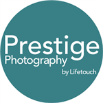 Prestige Photography by Lifetouch white text in teal circle