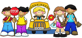 Kids with Stop sign and school bus