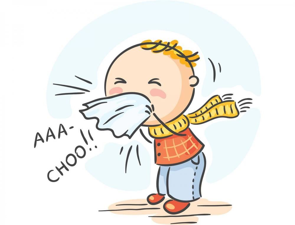 cartoon image of boy blowing nose