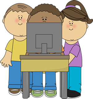 kids looking at school computer