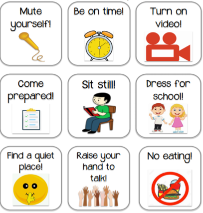 Icons for students to be ready to learn