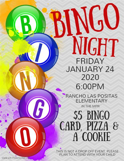 Rancho Bingo Night on Friday January 24 at 6:00 PM